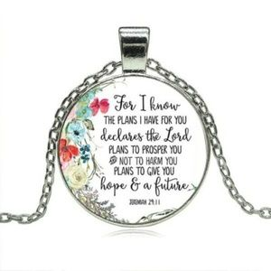 Bible Verse Necklace Chain Pendant Cabochon Glass